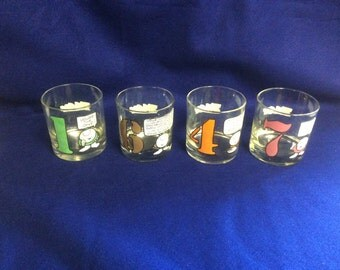 Partial Set of Four ZIGGY Numbered Old Fashion Style Bar Glasses 1977