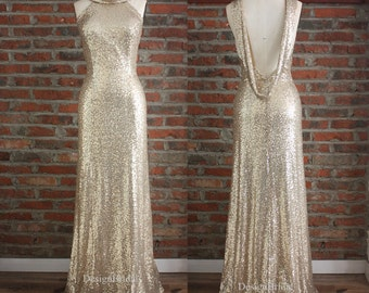 Sequin Long Evening Gown,Sexy Blackless Evening Dress, Simple Black Sequin Gown,Long Dress Flare Cowl Balck, All Over Sequin Dress Low Back
