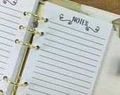 Personal Notes printed planner refill insert - lined paper - note taking - journal - #238