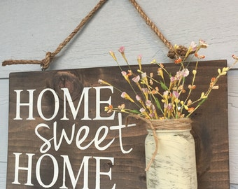 jar home sign home sweet home sign rustic home sign hand painted home ...