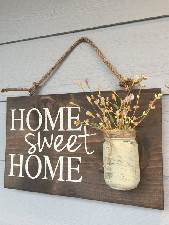 Rustic outdoor home sweet home outdoor welcome by redroansigns for Wooden art home decorations