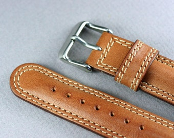18mm leather watch band, Brown leather watch band, Brown watch strap genuine leather, Genuine watch strap leather, Brown leather watch strap