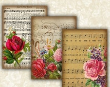 SALE 75% Vintage Music sheet Flower Cards Digital Collage Sheet Printable 2.5x3.5 inch size Images Gift Tags Jewelry Holders Scrapbook ATC A