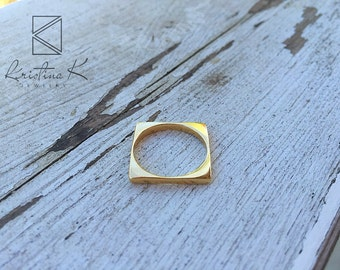 Simple Square Ring | Gold Square Ring | Gold Ring | Rectangle Ring | Geometric Ring | Geometric jewelry | Valentines gift | Gold filled ring