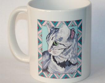 Gray Cat Mug...Cat Ceramic Mug...Cat Lover's Mug