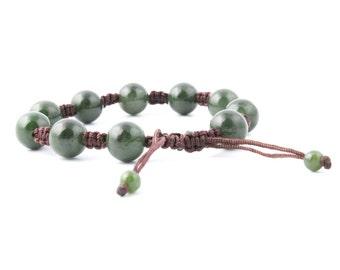 Canadian Nephrite Jade Bead Bracelet, 12mm