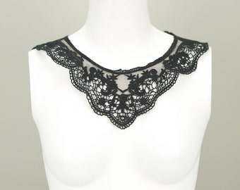 Black Floral Lace Applique with Longer Straps