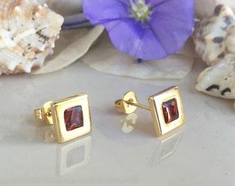 20% off-SALE! January Birthstone Jewelry - Garnet Earrings - Square Earrings - Post Earrings - Delicate Studs - Simple Earrings - Gold Studs