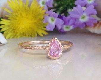 20% off- SALE!! Rose Quartz Ring - October Birthstone - Tiny Ring - Gold Ring - Slim Stack Ring - Dainty Ring - Teardrop Ring - Pink Ring