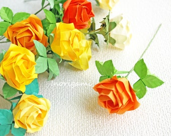 """Yellow hues 12 Origami """"Fine"""" Roses / Welcome Gift / Decorative Display & Wedding Souvenir or Favors / Birthday Party/ Room decor/ Gift idea"""