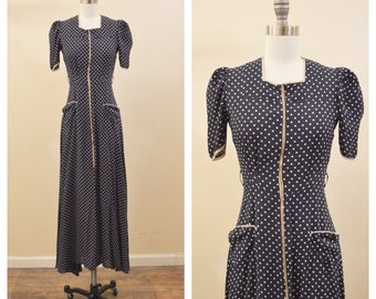 Vintage 1930's / 40's Navy dress with white polka dots and front zipper