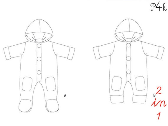 Pattern4kids Baby Overall Sewing Pattern Romper Jumpsuit Pattern