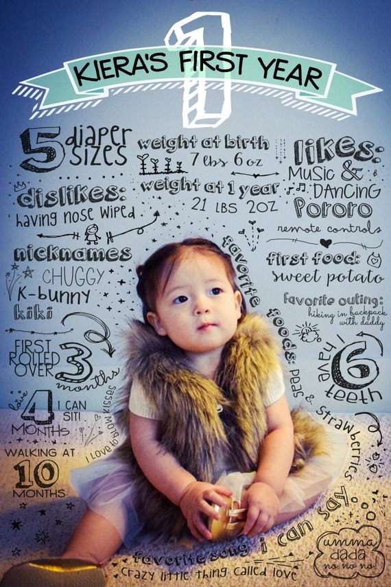 baby 39 s first birthday infographic baby 1st by liveforbliss on etsy. Black Bedroom Furniture Sets. Home Design Ideas