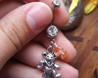 Grateful Dead Dancing Bear Belly Ring with Carnelian