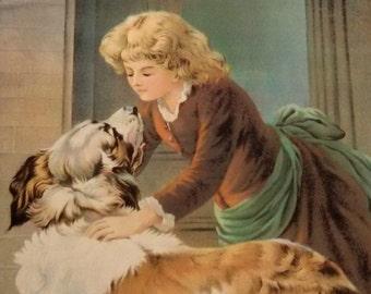"Edwardian chromolithograph ""Playmates"" girl & dog, James Lee Co., Chicago, 1904, original frame"