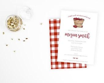 Apple Bridal Shower Invitation (digital download available)