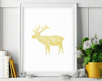 Deer Art, Mustard Yellow, Wall Print, Digital Print, Wall Art, Downloadable Art, Wall Printable Art, Deer Wall Decor, Minimalist Poster