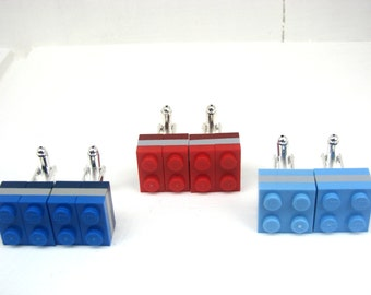 3 tier colour block LEGO(R) plate Cufflinks - Silver plated - Handmade. Great gift for any LEGO(R) lovers! Colour options. Gifts for Men.