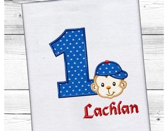 1st Birthday Monkey  Applique Machine Embroidery DESIGN NO. 325