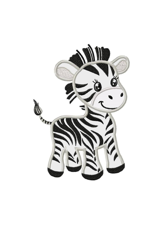 Little zebra applique machine embroidery design no