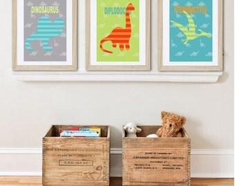 3 posters of dinosaurs in colors, dinosaur wall decor, boy wall art, boy room decor, dinosaur print, kids dinosaur art