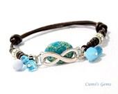 Blue Jasper bracelet, Natural bracelet, Infinity gem jewelry, OOAK leather bracelet, Spring Summer, Yoga bracelet, gift for her, heal stone