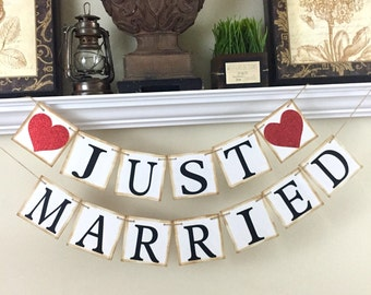 Just Married Banner, Wedding Day Banner,  Wedding Decoration, Wedding Banner For Car