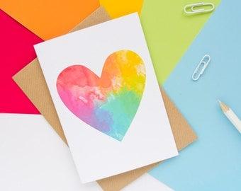 Rainbow Heart Card / Love Card / Rainbow Card / Blank Notecard / Thank You Card / LGBT Card / Cute Stationery / Recycled Card