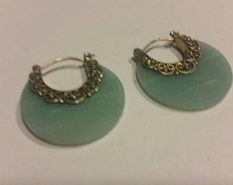Merav Sterling Silver Blue Green Stone Dangle Earrings 925