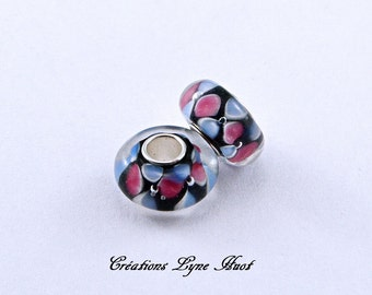2 or 5 Murano glass single core beads charm Européan style ! Blue, Black and Raspberry Color !
