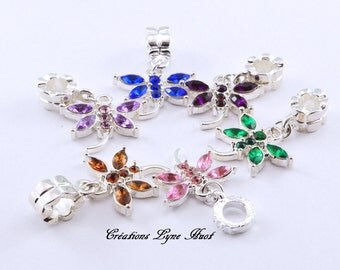 Charms insect shape set with Rhinestone, 6 different colors!