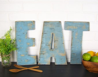 Rustic Eat Sign Wooden Eat Letters Kitchen Sign Farmhouse Decor Eat Wood Sign Eat Wall Decor Dining Room Decor Restaurant Decor Eat Decor