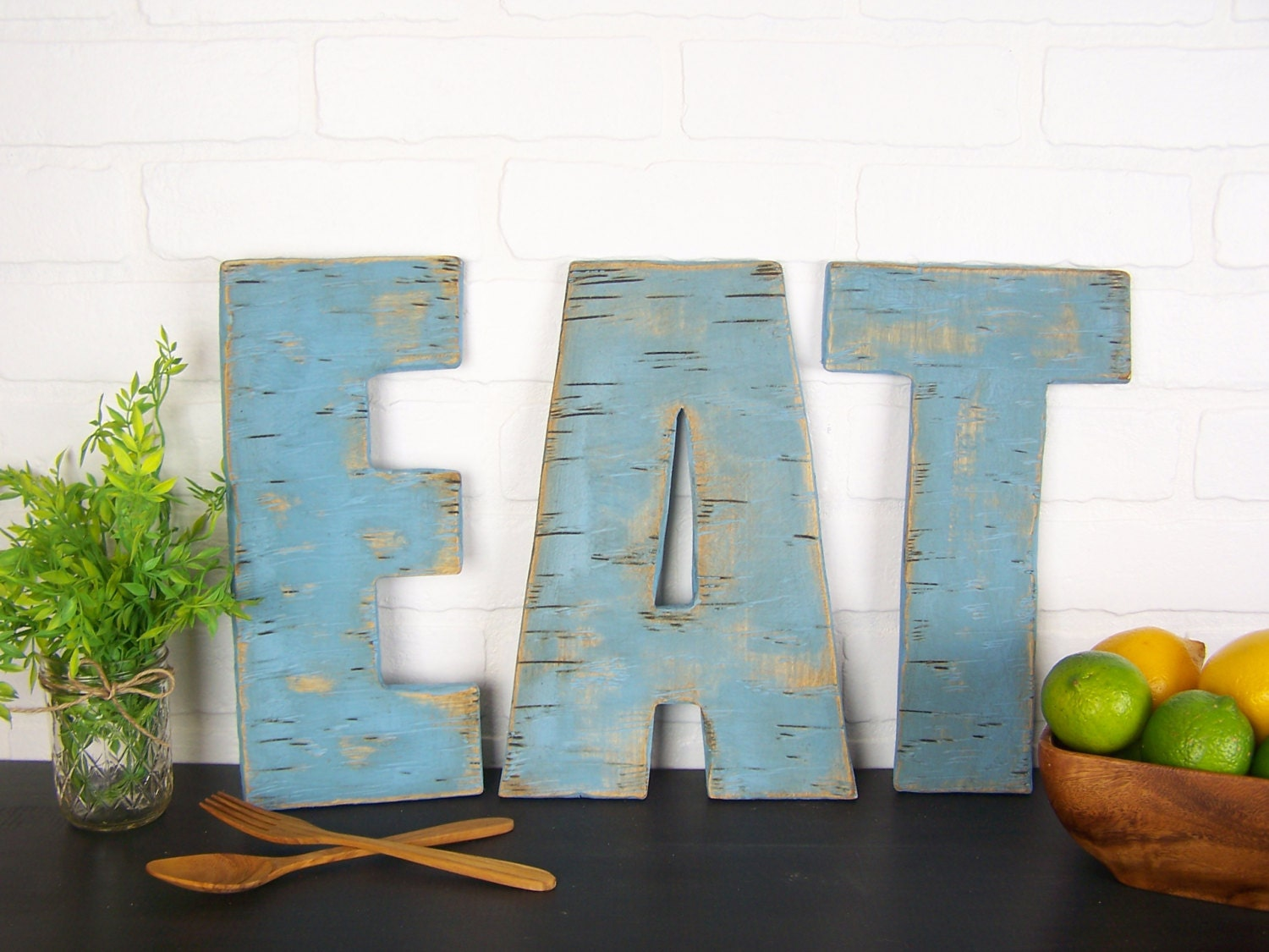 Rustic eat sign wooden eat letters kitchen sign farmhouse for Kitchen dining room wall decor