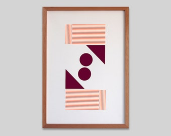 Abstract geometric Screen print (hand pulled) Fluorescent orange and dark mauve