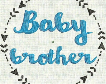 Instant Download Embroidery Machine Pes Designs Arrow Wreath Mod Elements Baby Brother  Bodysuit 2 Sizes PES Format