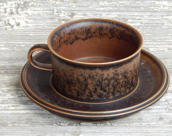 Arabia of Finland Ruska Tea Cup and Saucer Stoneware Designed by Ulla Proscope Brown Ceramic Cups & Vintage arabia ruska | Etsy