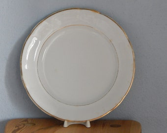 Arabia of Finland White Dinner Plate Golden Rim Dinner Plate Porcelain Tableware 1940 s