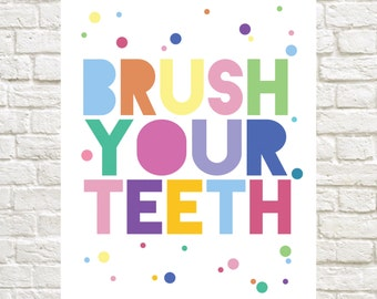 Wash Your Hands & Brush Your Teeth Bathroom Prints