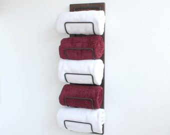 Rustic Bathroom Towel Rack | Wall Mounted Towel Rack