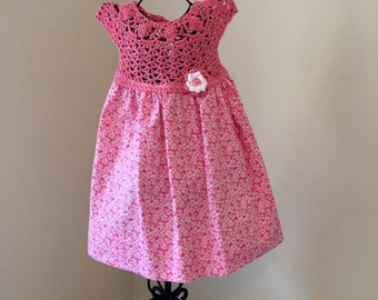 Hand made crochet top dress with cotton material skirt 18m.
