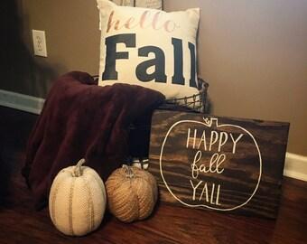 16x12 Happy Fall Y'all Pumpkin