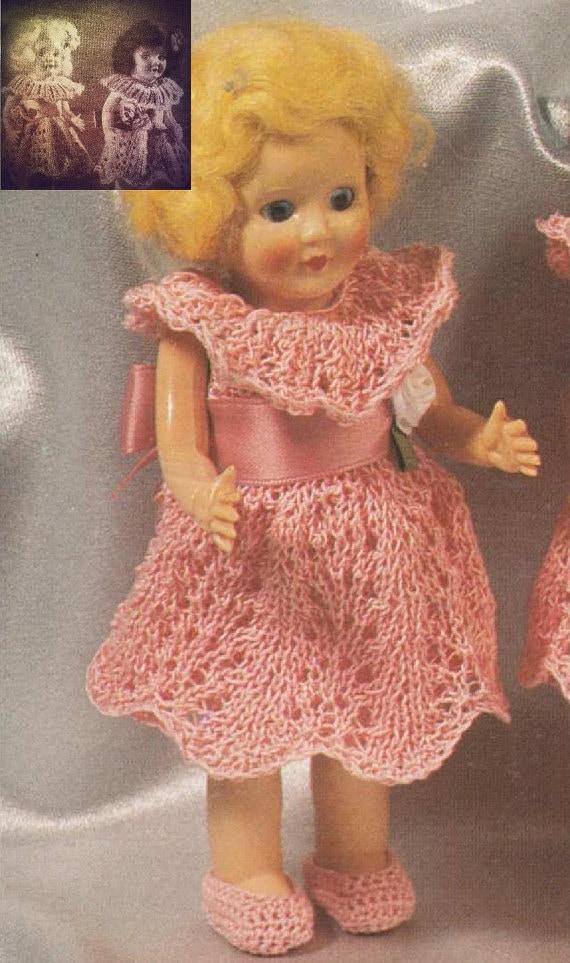 SALE Rosebud doll Knitting Pattern New Dresses with Bertha