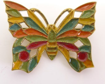 Vintage Rainbow Enamel Pierced Metal Butterfly Brooch Pin