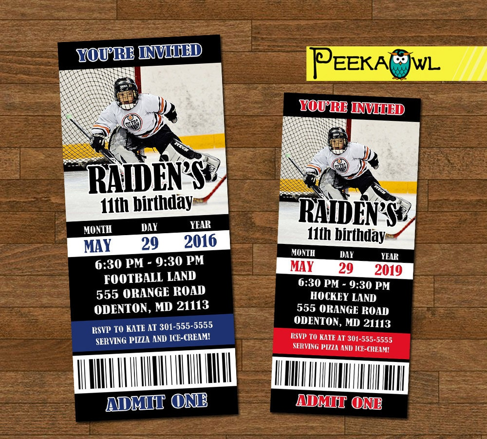 Printable Boys Hockey invitation ticket Boys Hockey birthday
