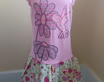 Strawberry Shortcake Dress T-shirt Party Dress with Vintage Fabric - Size 5T