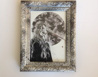 Unicorn girl, print with personalized frame by Psyca