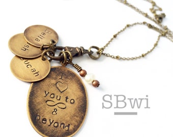 Love you to infinity and beyond necklace with initial charms