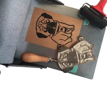 Pug linocut, original hand pulled print, Kraftpaper, A6