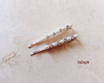 Set of (2)  Pearl Crystal Rhinestone Hair Bobby Pins Wedding Bridal Headpiece
