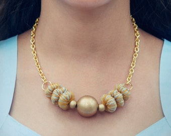 Sample SALE Bib Statement Necklace, Bead Statement Necklace, Fabric Beads Necklace, Fabric Necklace, Bead Necklace, Chunky Bead Necklace
